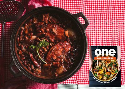 BBQ baked beans with Kassler chops