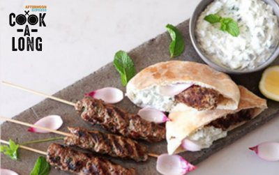 Beef Koftas with Tzatsiki & Quick Pickled Red Onion