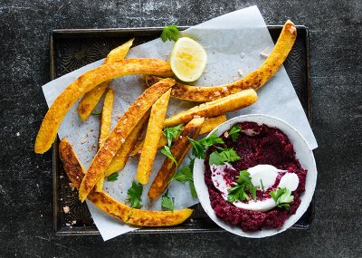 Chickpea Fries with Nomato Sauce