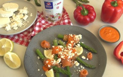 Clover Feta Cheese and Red pepper Asparagus