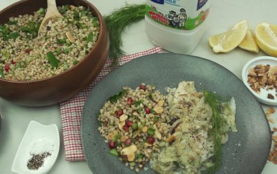 Clover Fresh milk Fish & Fennel with Pearl Barley Tabouleh