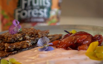 Clover Fruits of Forest with granola brittle and caramelized  fruit