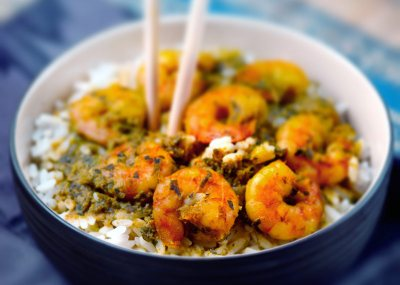 Coconut Prawn Curry with Cashew and Coriander Rice