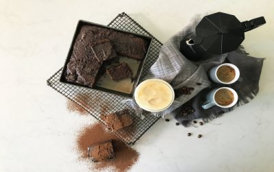 Coffee Brownies in Espresso Syrup