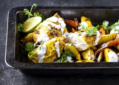 Curried Chicken tray bake