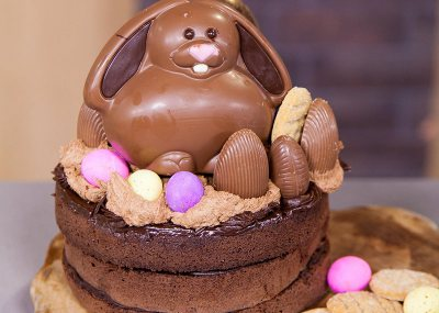 Easter Egg-loaded Chocolate Cake