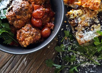 Homemade Italian Meatballs with a Trio of Foccacia