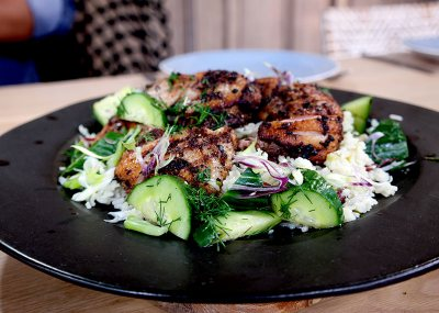 Jerk Duck with Grilled Cucumber Salad