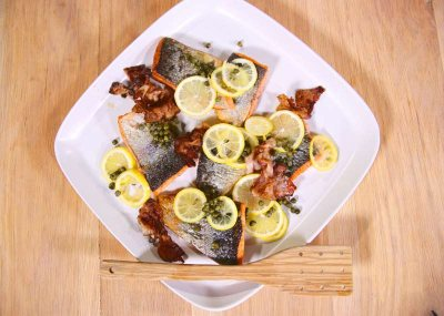 Pan Fried Trout with Capers and Crispy Sliced Pancetta