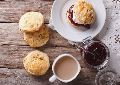 Scones with Jam & Homemade Clotted Cream