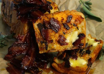 Sticky Maple Bacon and Cheese bread