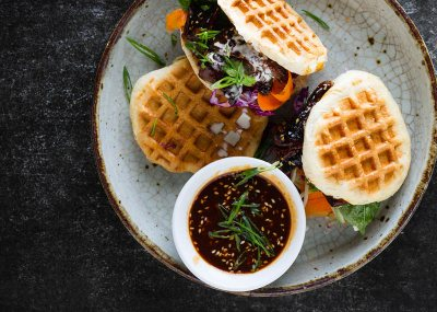 Waffle bread with sweet sticky short ribs