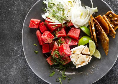 Watermelon, fennel and pistachio honeycomb salad