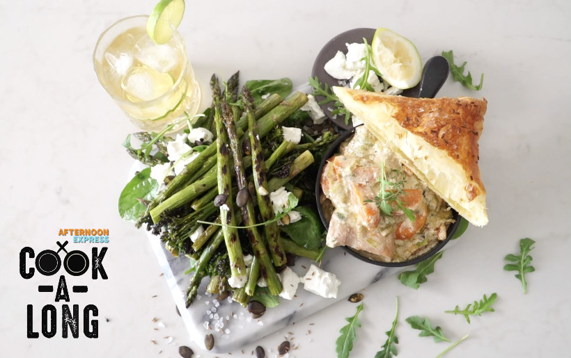 Chicken & Leek Pot Pie with Grilled Asparagus and Green Beans Salad