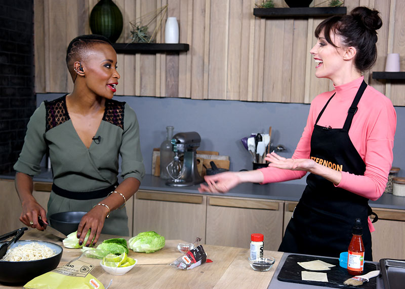 Bonnie and Claire cooking in the Afternoon Express kitchen