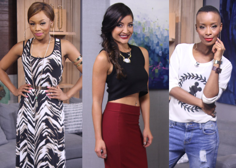 Afternoon Express presenters Bonang Matheba Jeannie D and Bonnie Mbuli style details