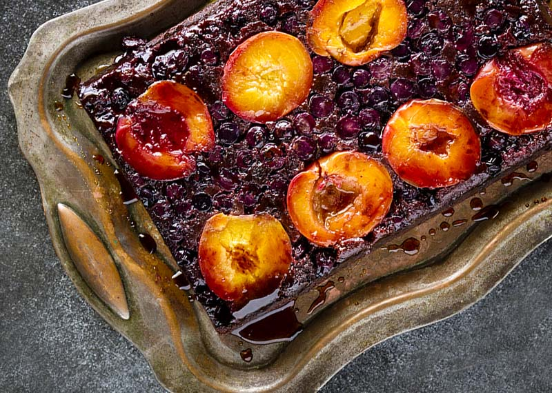 Nectarine and Blueberry (Upside-Down) Tray Cake