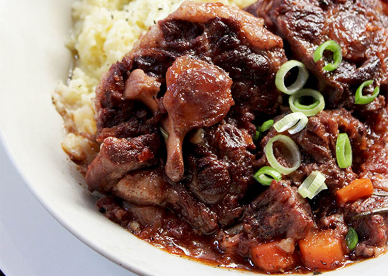 Red wine and garlic oxtail