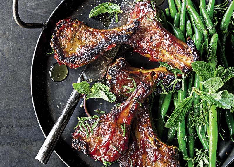 Mango and maple glazed lamb chops