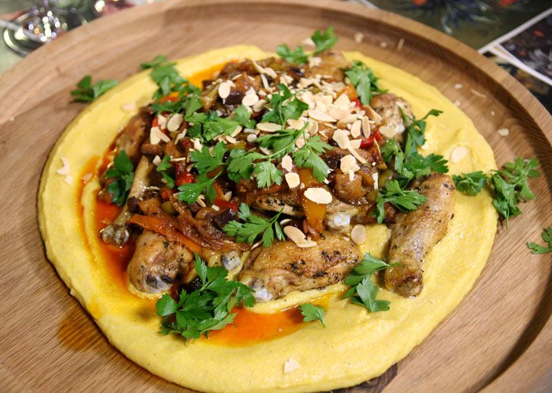 Roast chicken and polenta recipe