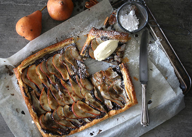 Rustic Chocolate, Pecan & Pear Tart