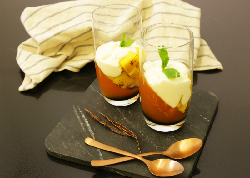 brewed iced tea jellies with grilled pineapple