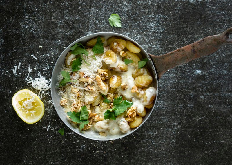Gnocchi with 3 cheese sauce & walnuts