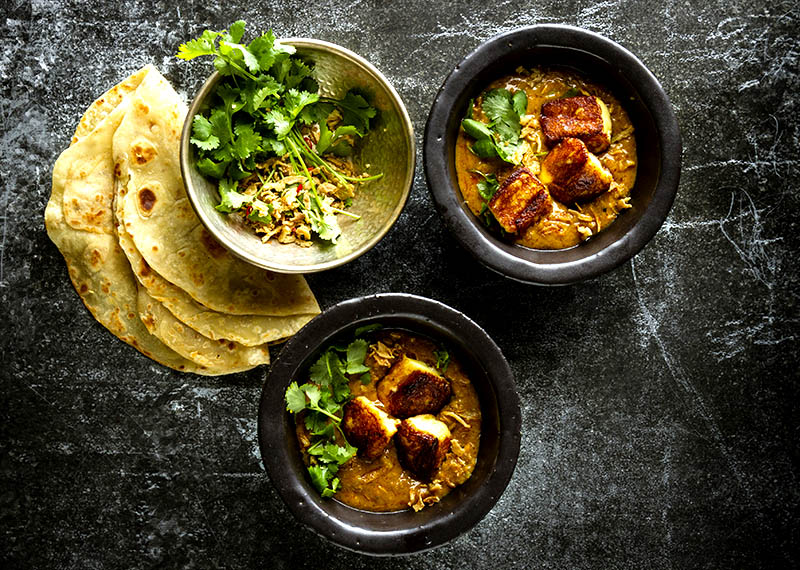 Butter chicken soup  with grilled paneer and roti