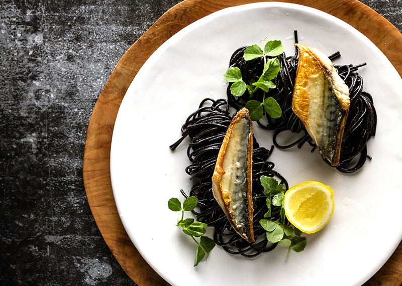 Truffle Spaghetti with Seared Mackerel