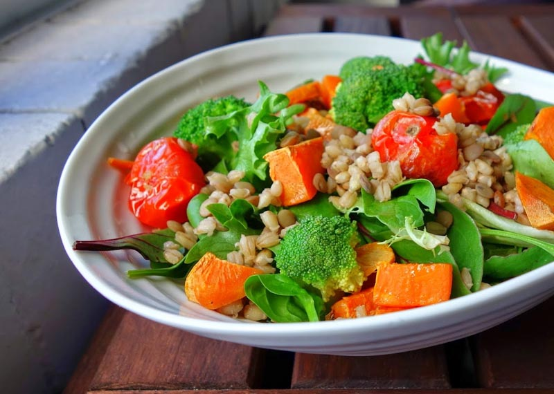 Roasted Sweet Potato and Broccoli, Barley Salad
