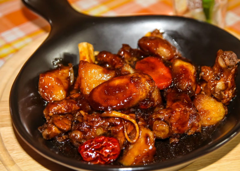 Smokey pork with sweet and sour sauce