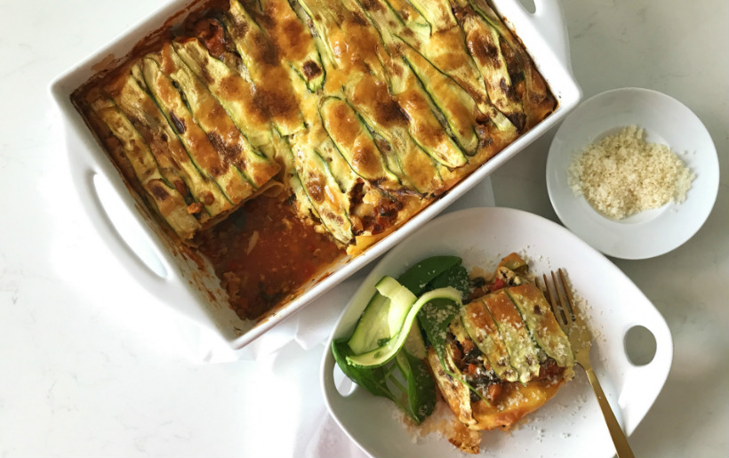 Chickpea and lentil lasagna,