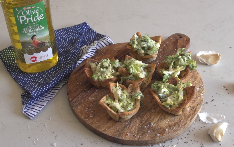 Caesar salad style crouton cups