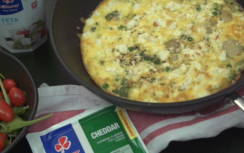 Clover Cheese, potato and green pea frittata