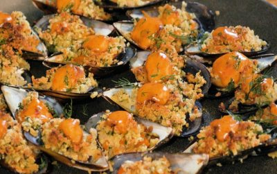 Baked Mussels with harissa and alioli