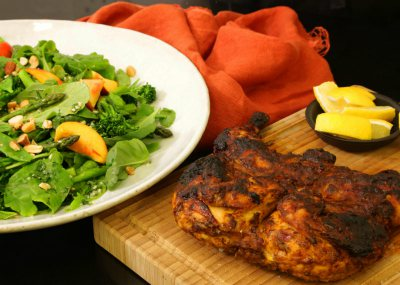 Butterflied Moroccan Chicken with Green Summer Salad
