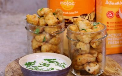 Chicken popcorn with tangy Clover Nolac sauce