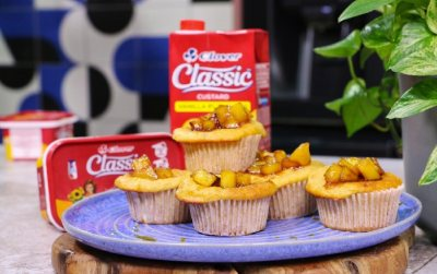 Clover Classic Custard and apple muffins