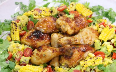 Clover Classic Sticky Chicken with roast corn salad