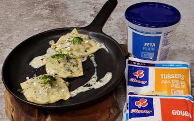 Clover Feta and spinach ravioli