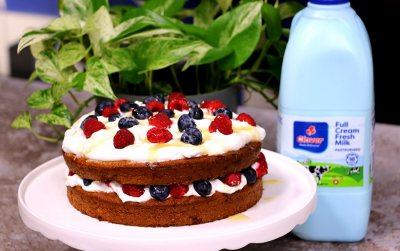Clover Fresh Milk and honey cake with berries and cream