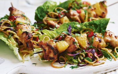 Clover Picnic Pasta Salad and Sticky Chicken Kebabs