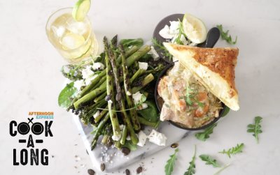 Cook-A-Long Chicken Pot Pie and Asparagus Salad
