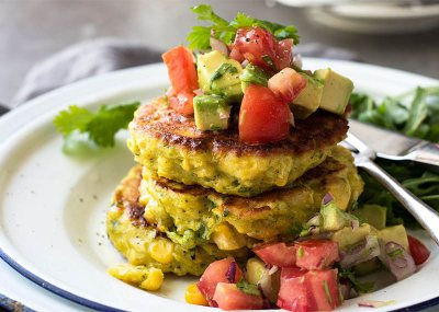 Corn Fritters with Avo & Coriander