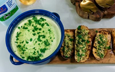 Courgette and Parsley soup with Sunflower seed pesto