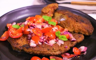Crumbed Lamb Liver Schnitzels with Tomato Salsa