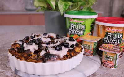 Fruits of the Forest Cinnabun bread pudding