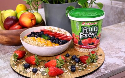 Fruits of the Forest Smoothie bowl with seasonal fruits