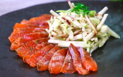 Gravadlax with celeriac and fennel salad