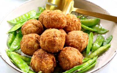 Red cherry and pineapple stuffed gammon croquettes